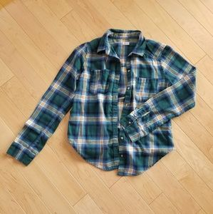 Hollister blue and green flannel, size small